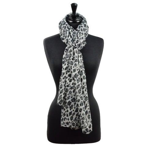 LA77 Sheer Leopard Print Scarf