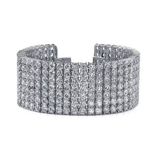 14k White Gold 32ct TDW 7-Row Pave-set Diamond Tennis Bracelet