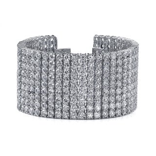 14k White Gold 72ct TDW Pave Diamond Tennis Bracelet (F-G, SI2-SI3)