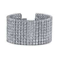 14k White Gold 72ct TDW Pave Diamond Tennis Bracelet