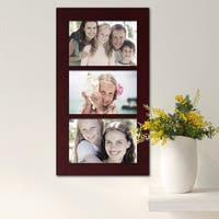Adeco Decorative Walnut Color Wood Wall Hanging 4x6 Photo Frame with 3 Divided Openings