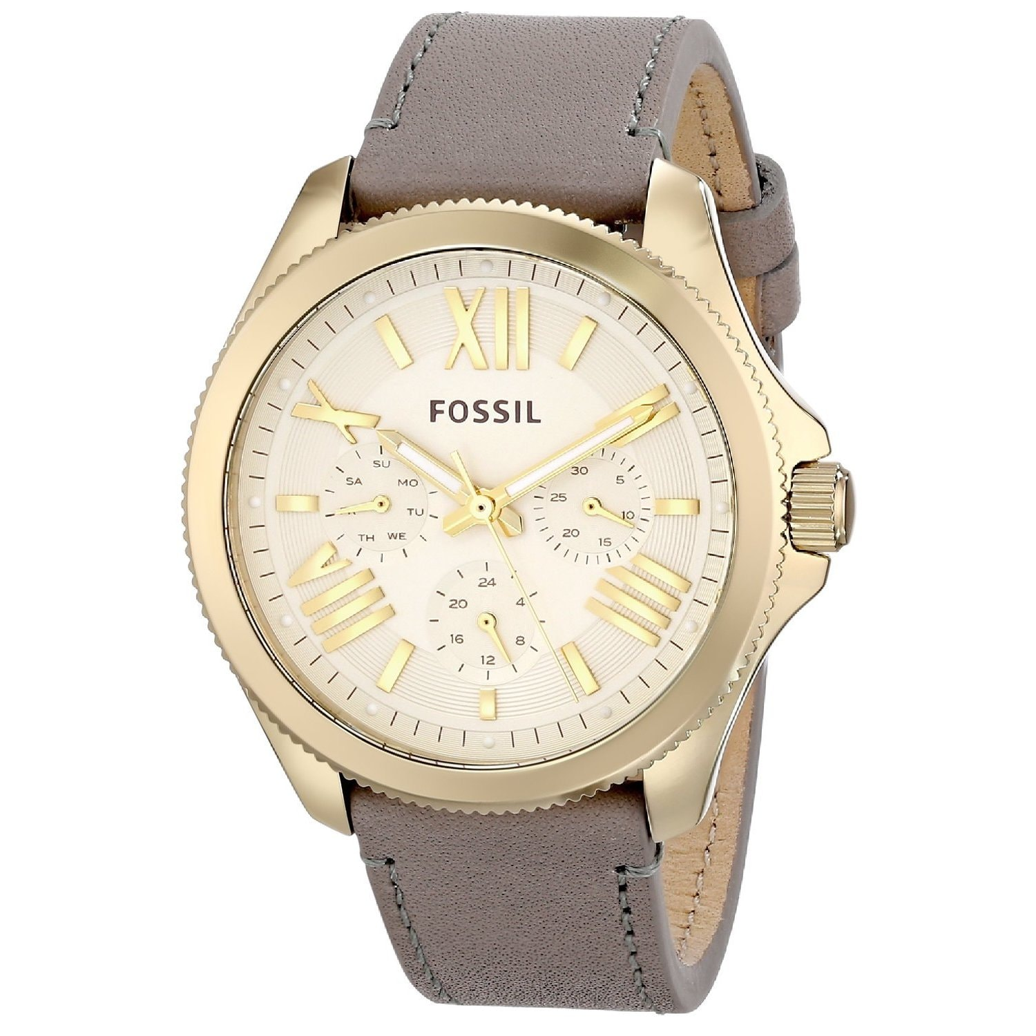 Fossil Women's AM4529 'Cecile' Grey Leather Watch (Fossil...