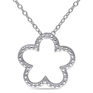 Miadora Sterling Silver Diamond Flower Necklace