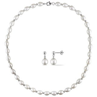 Miadora Sterling Silver 2-pc Set of Freshwater Pearl Necklace and Earrings (8-8.5 mm)