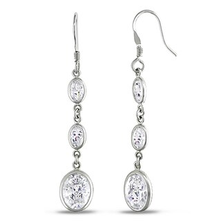 Miadora Sterling Silver Cubic Zirconia Drop Earrings
