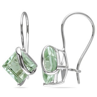 Miadora 10k White Gold Green Amethyst Dangle Earrings