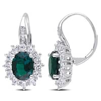 Miadora Silver Created Emerald, Created White Sapphire and Diamond Accent Earrings