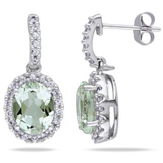 Miadora 10k White Gold Green Amethyst and Created White Sapphire Earrings