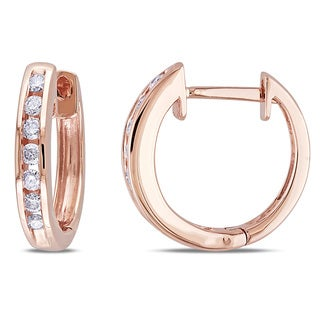 Miadora 10k Rose Gold 1/4ct TDW Diamond Cuff Earrings