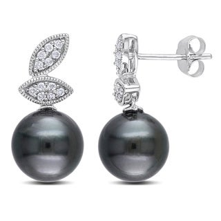 Miadora 10k White Gold Tahitian Pearl and 1/6ct TDW Diamond Earrings (H-I, I2-I3)