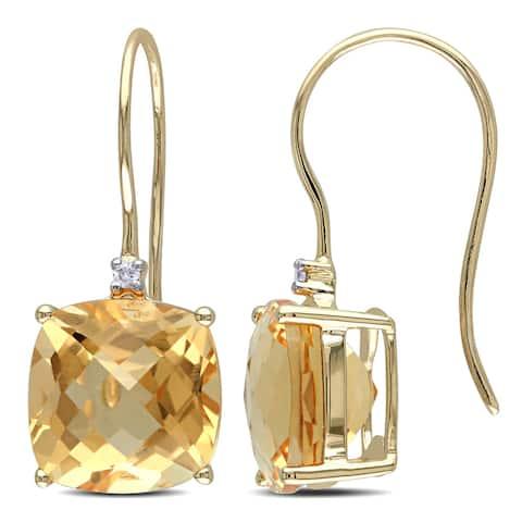 Miadora 10k Yellow Gold Citrine and Diamond Accent Dangle Earrings