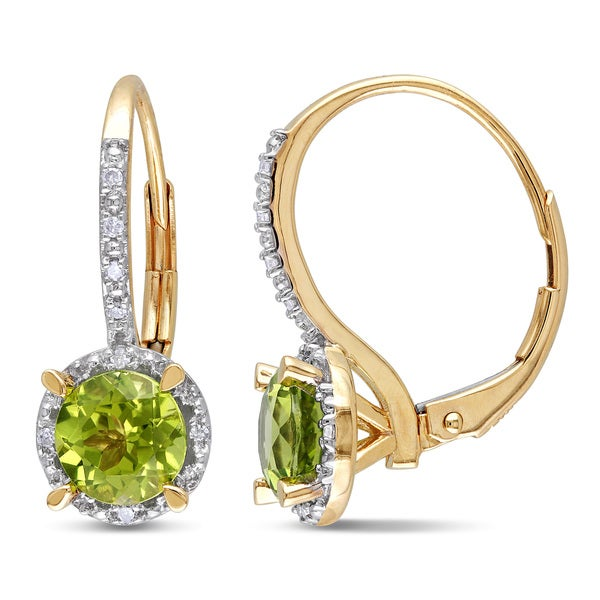Miadora 10k Yellow Gold Peridot and Diamond Accent Earrings