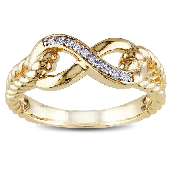 Miadora 10k Yellow Gold Diamond Accent Infinity Rope Ring