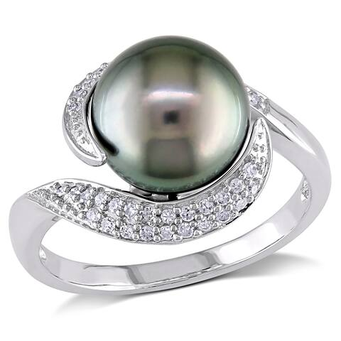 Miadora 10k White Gold Tahitian Pearl and 1/6ct TDW Diamond Ring (H-I, I2-I3) (9-9.5 mm)