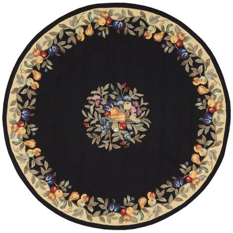 "Nourison Everywhere Black Accent Fruit Rug (7'6 x 7'6) - 7'6"" Round"