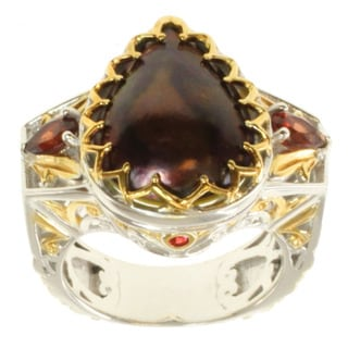 Michael Valitutti Two-tone Chocolate Mabe Pearl, Garnet and Pink Sapphire Ring