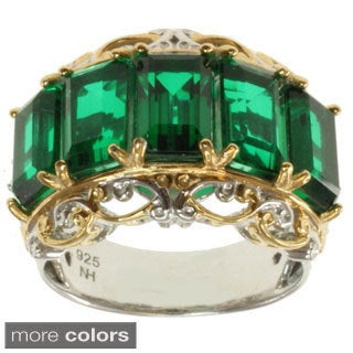 Michael Valitutti Two-tone Emerald-Cut Purple or Green Quartz and White Sapphire Ring