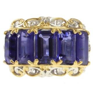Michael Valitutti Two-tone Emerald-Cut Purple or Green Quartz and White Sapphire Ring