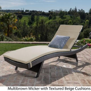 Toscana Outdoor Wicker Adjustable Chaise Lounge with Colored Cushion by Christopher Knight Home (Option: textured beige/multibrown)