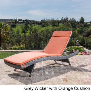Oliver & James Baishi Outdoor Cushioned Lounge Chair (Option: Grey/Orange)
