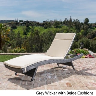Toscana Outdoor Wicker Adjustable Chaise Lounge with Colored Cushion by Christopher Knight Home