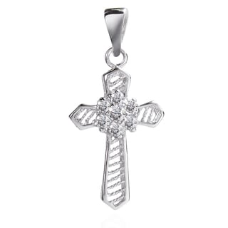 Flower of Faith Cubic Zirconia Cross .925 Silver Pendant (Thailand)