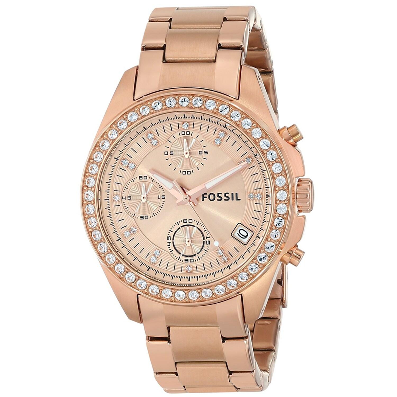 Fossil Womens ES3352 Decker Rose Goldtone Watch - Free