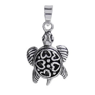 Beloved Sea Turtle Heart Shell .925 Silver Pendant (Thailand)