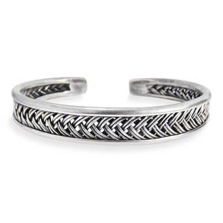 Handmade Hill Tribe Braided Thai Karen Silver Cuff Bracelet (Thailand)