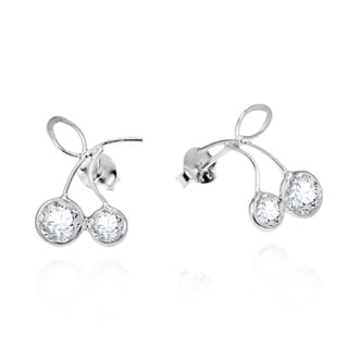 Sparkling Cherry Cubic Zirconia .925 Silver Post Earrings (Thailand)