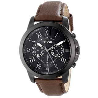 Shop Fossil Men S Fs4885 Grant Brown Chronograph Watch