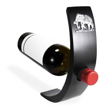 Handmade Elephant Embellish Wooden Balancing Wine Bottle Holder (Thailand)