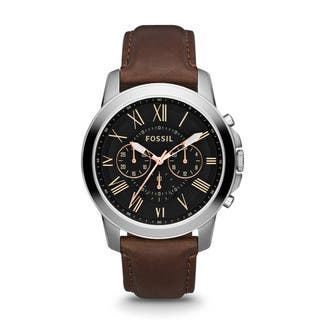 Fossil Men's FS4813 Grant Brown Leather Band Watch|https://ak1.ostkcdn.com/images/products/9116020/P16301098.jpg?impolicy=medium