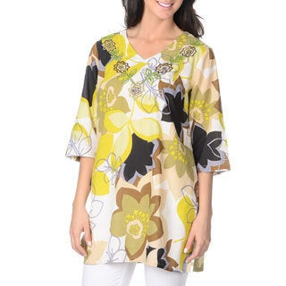 La Cera Women's Yellow Floral Print Tunic Top