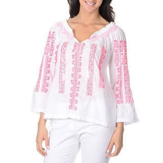 La Cera Women's White Embroidered Peasant Top