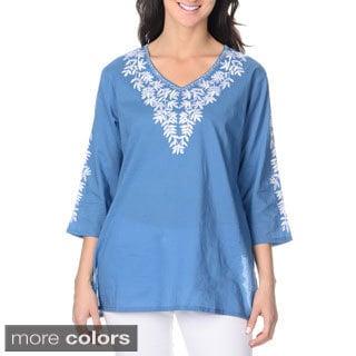 La Cera Women's Floral Embroidered Top