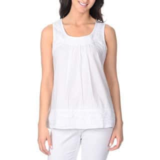 La Cera Women's White Embroidered Sleeveless Top|https://ak1.ostkcdn.com/images/products/9116046/P16301062.jpg?impolicy=medium