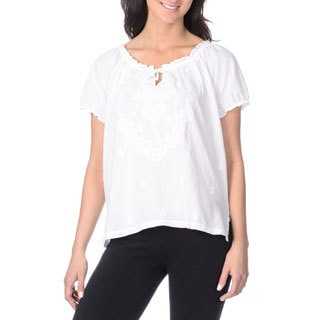 La Cera Women's White Embroidered Short-sleeve Peasant Top