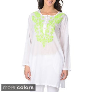 La Cera Women's Embroidered Tunic Top
