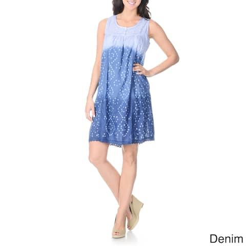La Cera Women's Ombre Floral Embroidered Dress