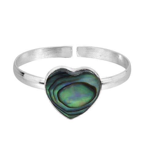 Handmade Peacock Abalone Shell .925 Silver Toe or Pinky Ring (Thailand)