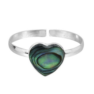 Heart Peacock Abalone Shell .925 Silver Toe or Pinky Ring (Thailand)
