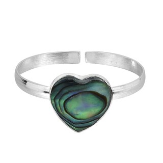 Handmade Heart Peacock Abalone Shell .925 Silver Toe or Pinky Ring (Thailand)