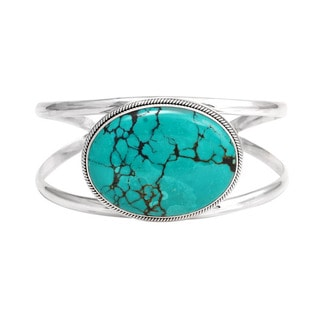Handcrafted Sterling Silver Bali Oval Turquoise Cuff Bracelet (Indonesia)