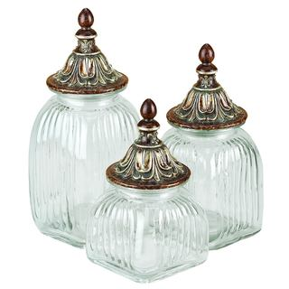 Benzara Polystone Glass Canister (Set of 3)