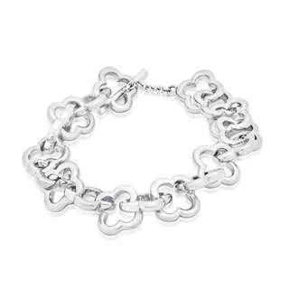 Gioelli Sterling Silver Quadrifoglio High Polished Toggle Bracelet