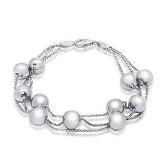 Gioelli Sterling Silver Multi-row Bead Bracelet