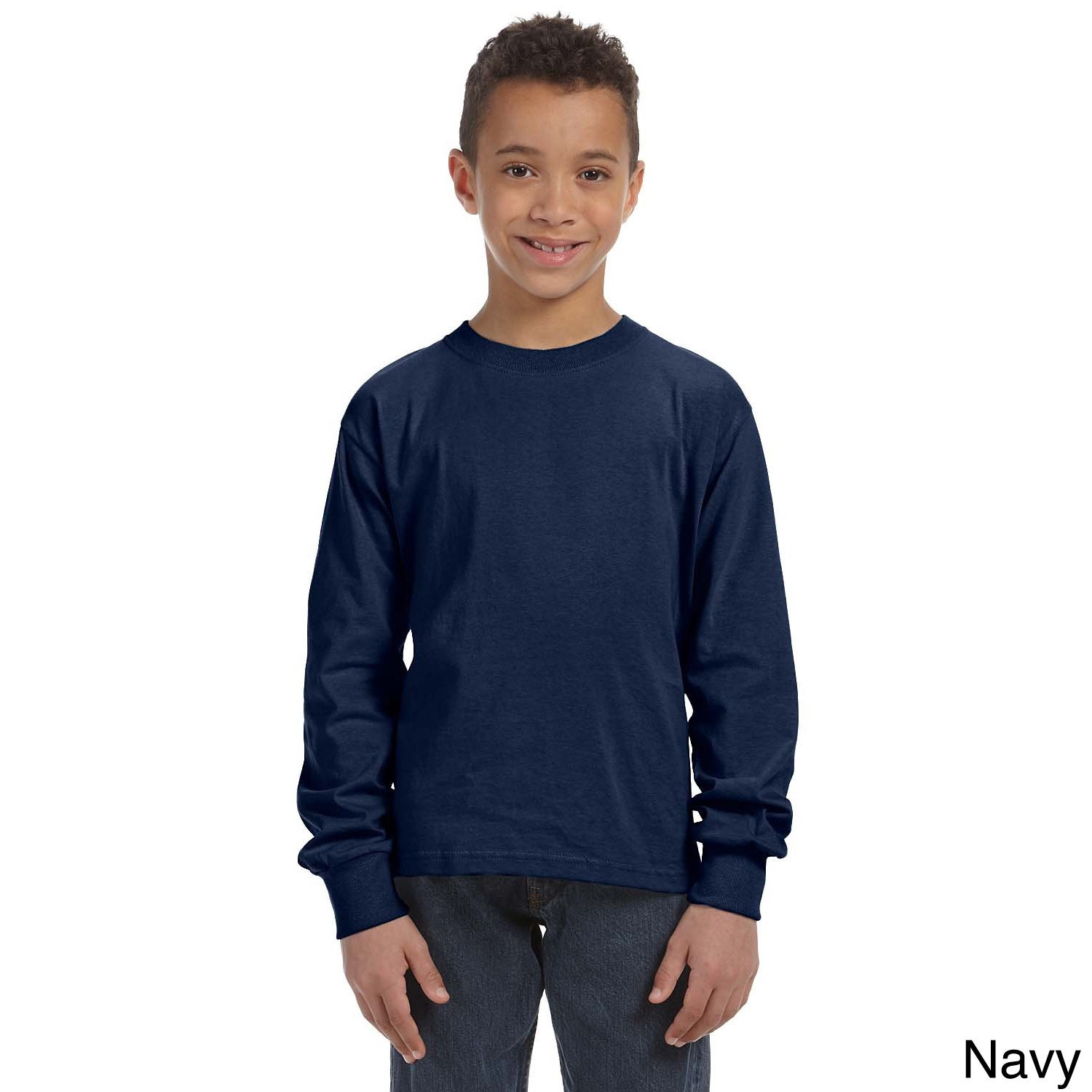 Fruit Of The Loom Fruit Of The Loom Youth Heavy Cotton Hd Long Sleeve T shirt Navy Size L (14 16)
