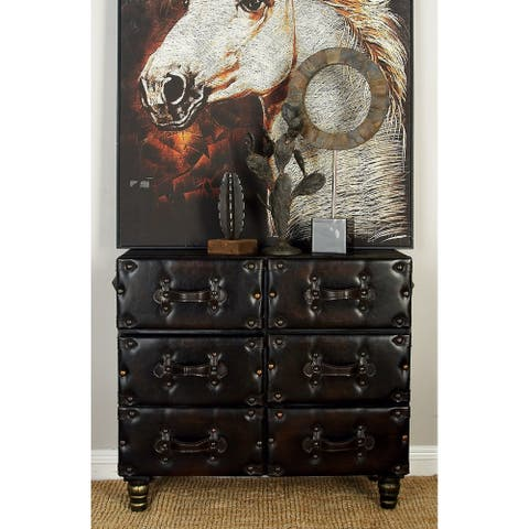Traditional 29 x 32 Inch Leather-Covered Wooden Chest by Studio 350
