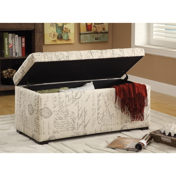 Ave Six Sahara Tufted Storage Bench With Easy Care Fabric U0026 Slam Proof Lid